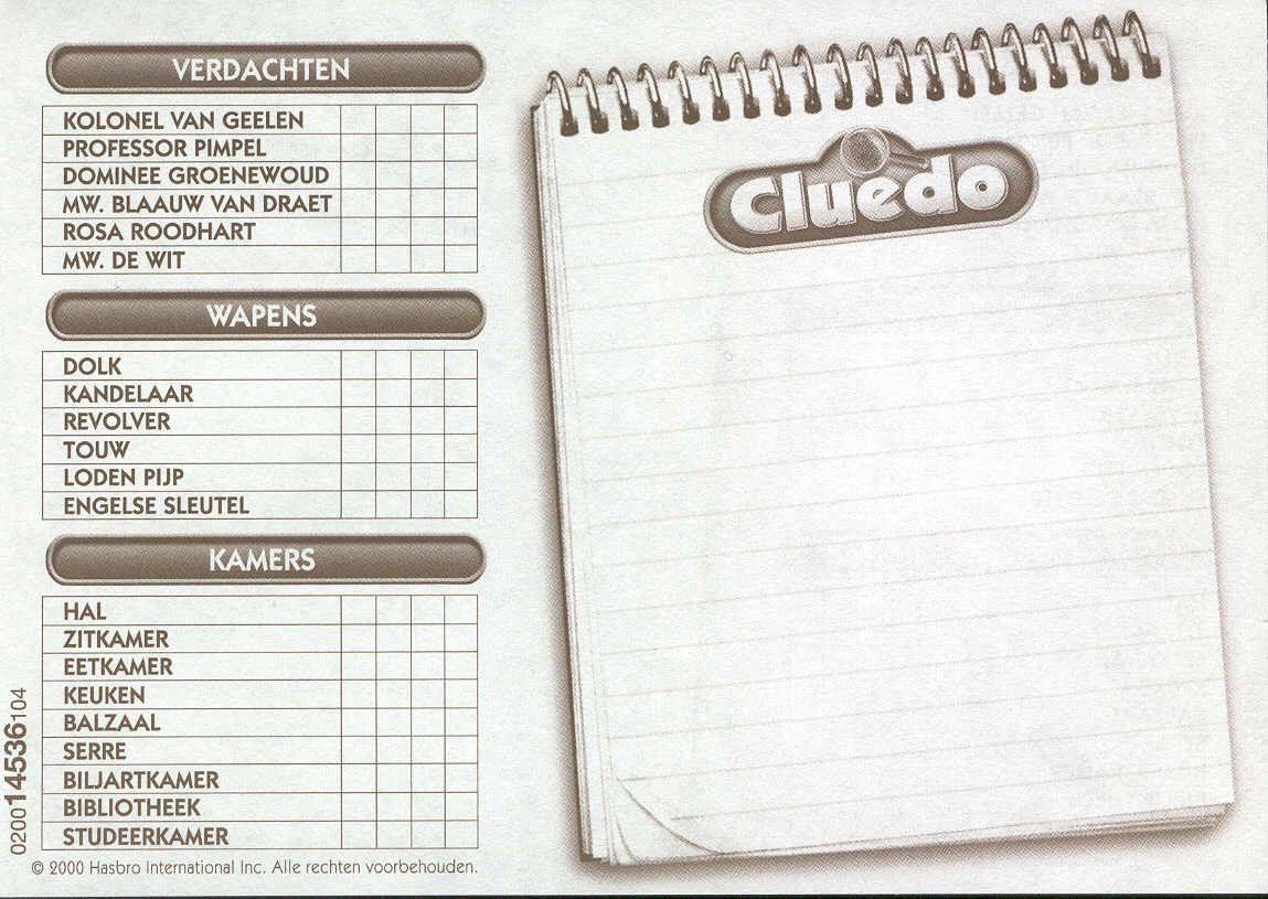 Cluedo Spielblock