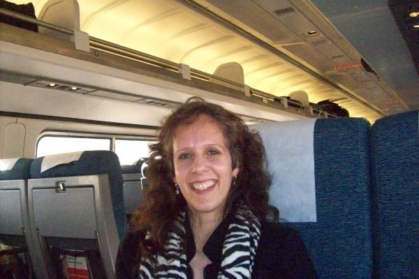 Lovin' my train ride as we travel from   NYC to Harrisburg, PA to visit in laws...March 2010.