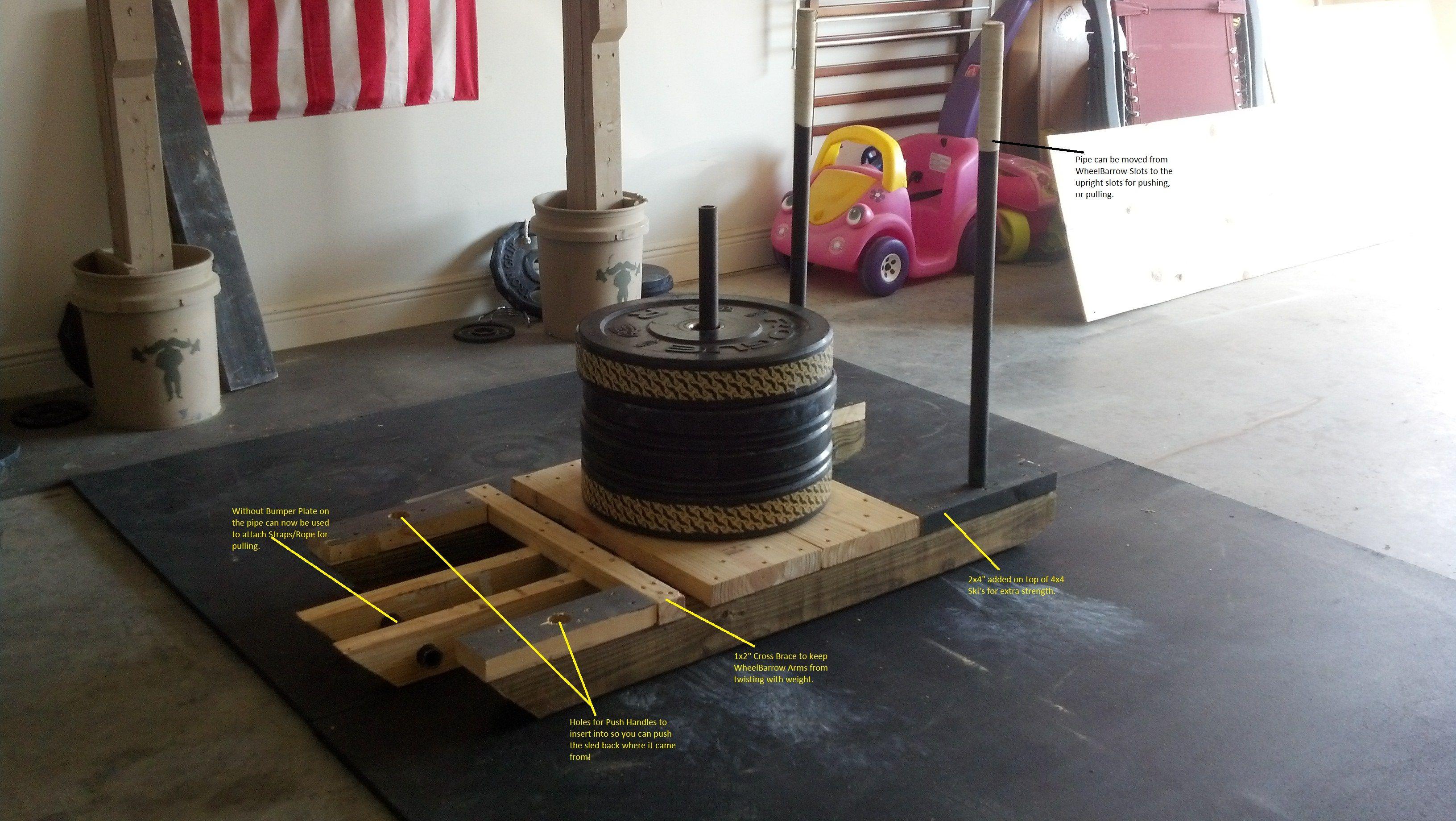 Diy Wheelbarrow And Sled 2 In 1 Wheelbarrow Diy Gym At Home Gym