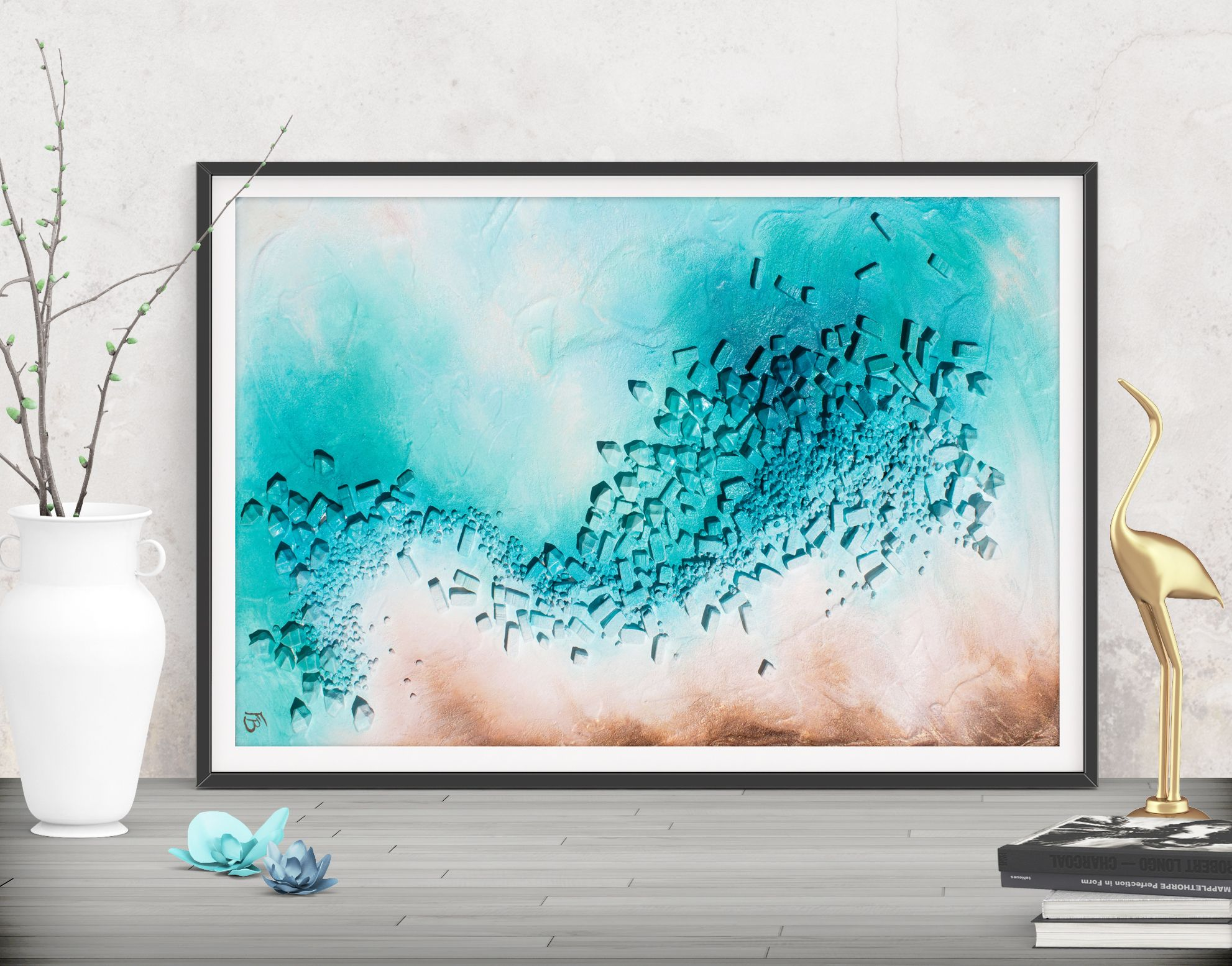 Digital download teal modern art turquoise printable art abstract