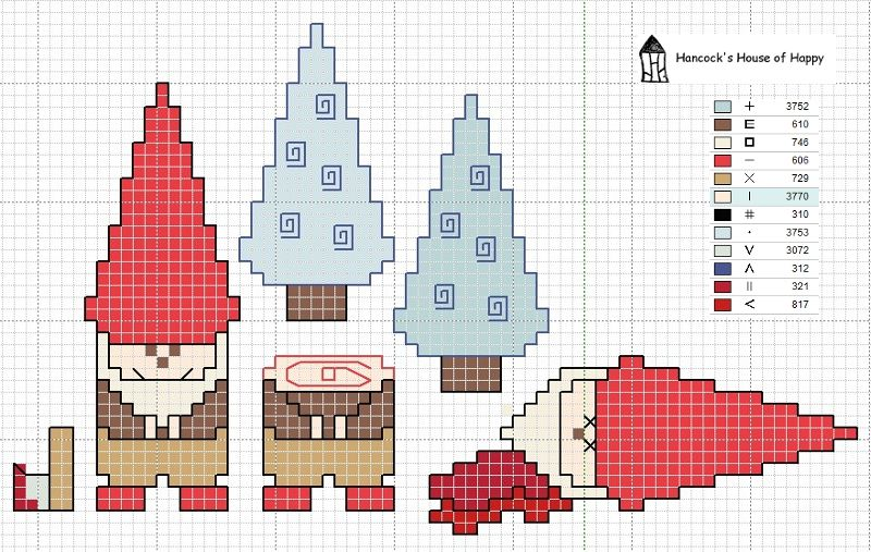 hancock\'s house of happy: Happy Little Gnome Woodsman Cross Stitch ...