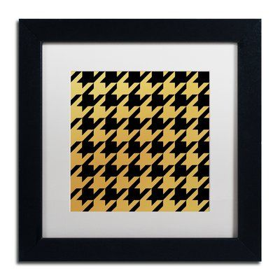 "Trademark Global 'Xmas Houndstooth 5' by Color Bakery Framed Graphic Art Mat Color: White, Size: 16"" H x 16"" W x 0.5"" D"