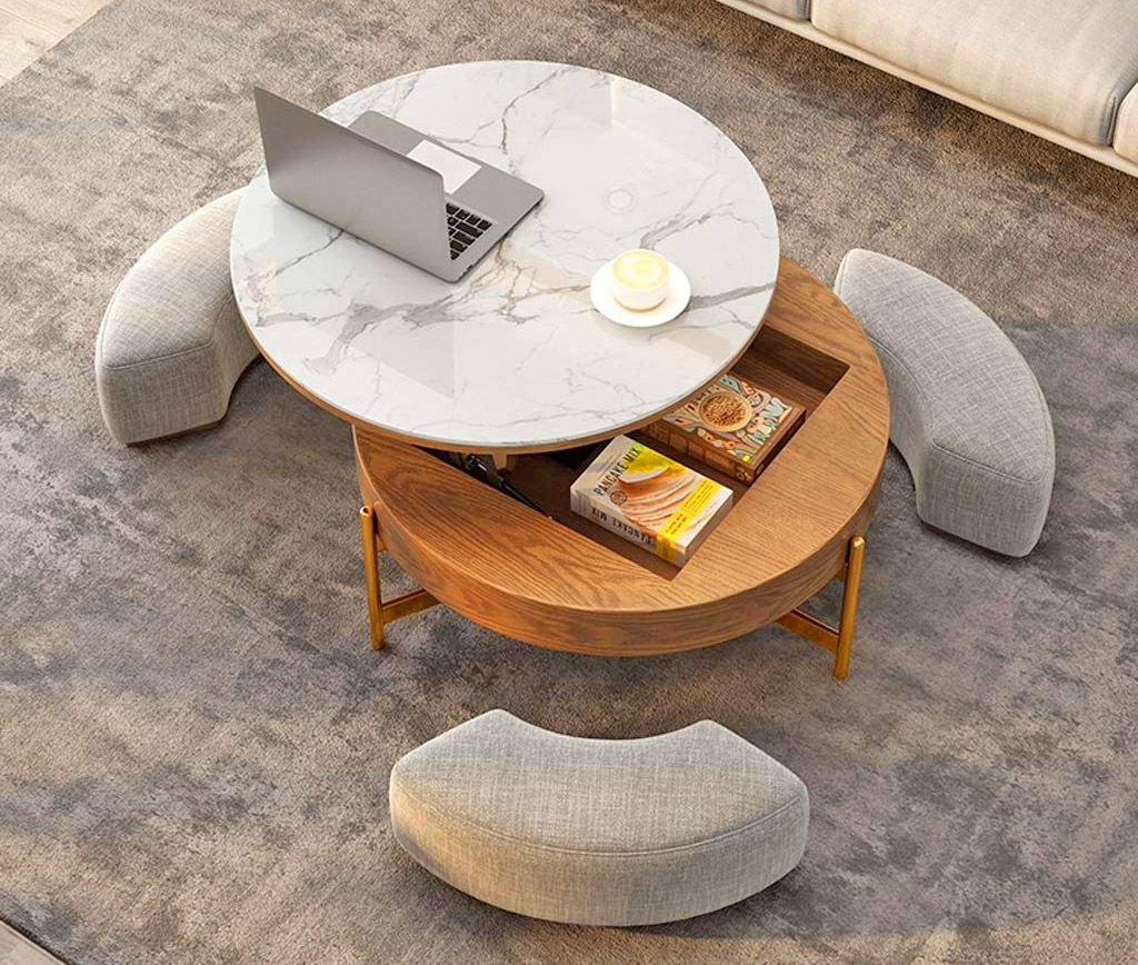 Amazing Rising Coffee Table Has 3 Integrated Ottomans That Hide Underneath It - Creative Round Coffee Table and Liftable Desk 3 stools underneath table