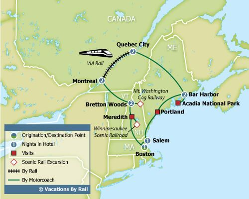 Map Of New England And Quebec.Fall Colors Of New England Quebec Montreal Travel