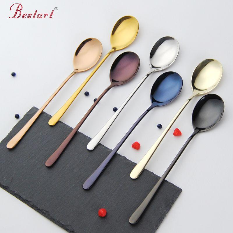 Korean Long Handle Stainless Steel Tea Coffee Spoon Soup Spoons Silver