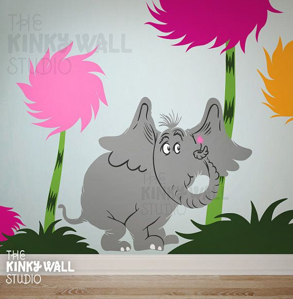 Lorax Character Wall Decal Choose  Dr Seuss Horton The - Dr seuss nursery wall decals