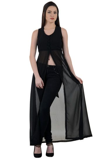 c915b5473c39 Raabtaa Black Front open Long Maxi Dress - Raabta Fashion Women dress Maxi  Dresses Online India