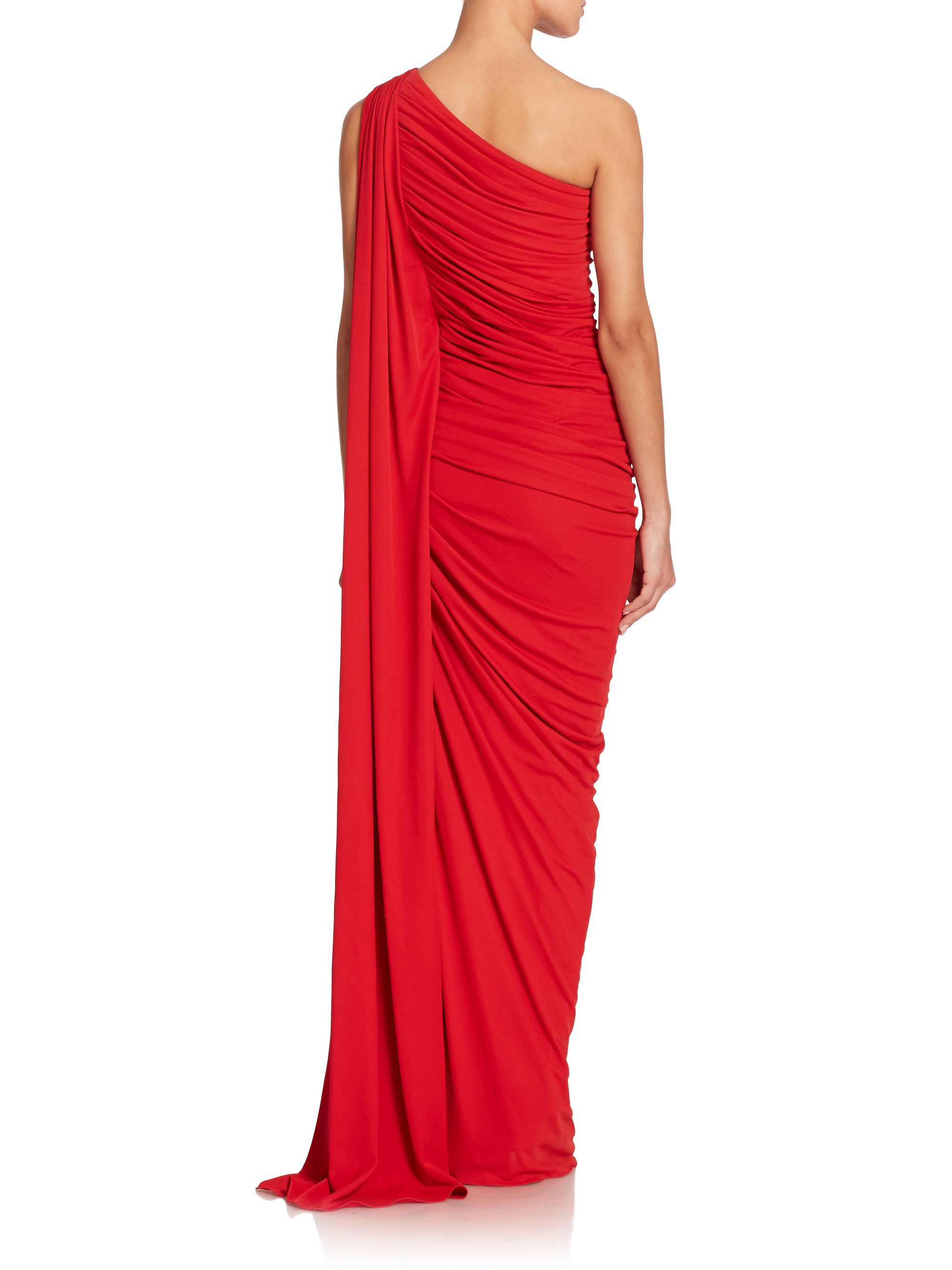 Michael Kors One-Shoulder Jersey Gown in Red (crimson)   Lyst ...