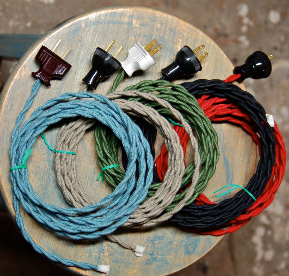 8' Twisted Cloth Covered Wire & Plug, Vintage Light Rewire Kit ...