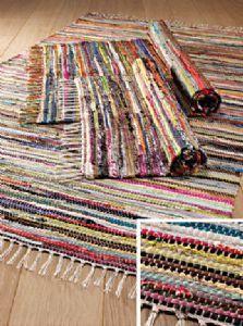 Rug~Cotton/Jute Striped Rag Rug 3 Sizes~Fair Trade by Folio Gotic Hippy RR23