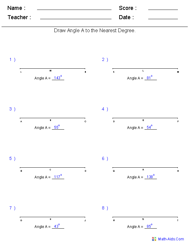 drawing angles to a measurement worksheets