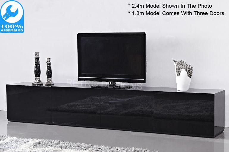 2 4m High Gloss Black Suprilla Tv Unit Black Tv Unit High Gloss Tv Unit Black And White Living Room