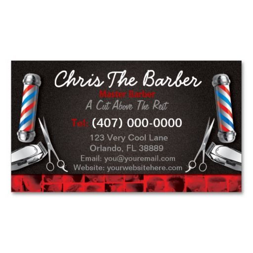Barbershop business card barber pole and clippers barbershop and barbershop business card barber pole and clippers flashek Choice Image