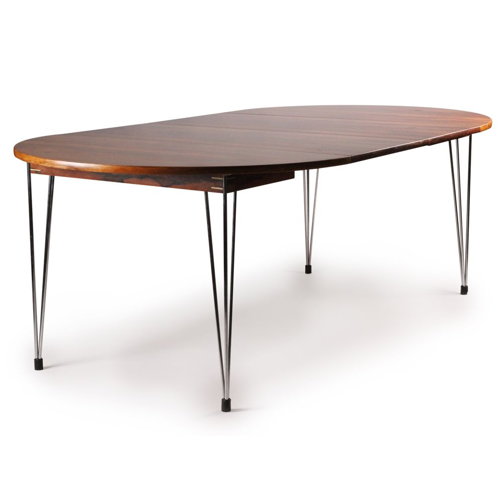 1960 s dining table wrought iron base and glass top tables - Hans Brattrud Rosewood And Chromed Metal Dining Table For Hove Mobler 1960s