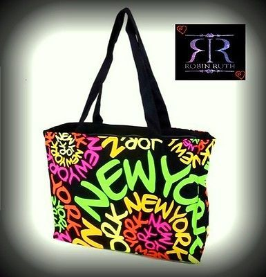 f38350a7a020 Robin Ruth New York Neon Rainbow Spiral Canvas Designer Tote Bag Carry  All...now on Sale