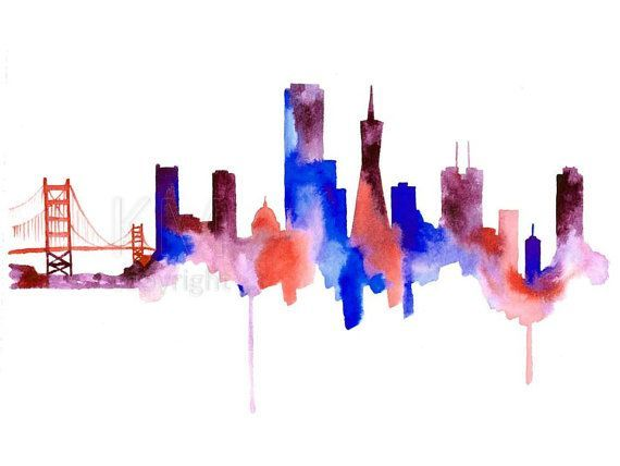 image result for san francisco skyline silhouette painting sf