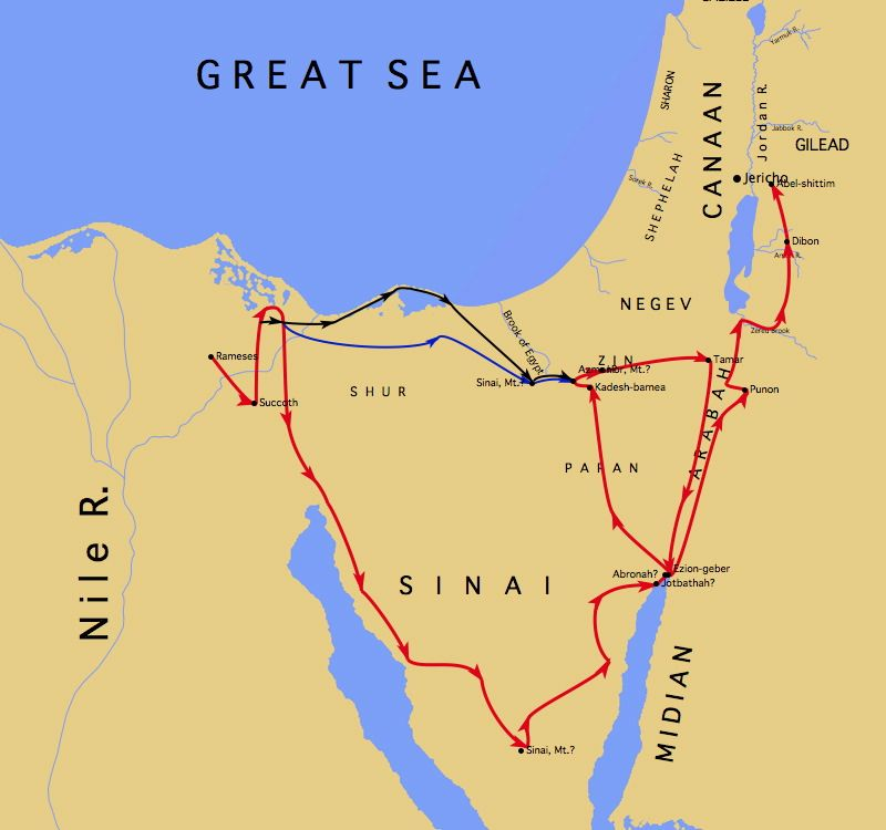 Map Of Exodus And Conquest Of Canaan The Bible 06 Promised