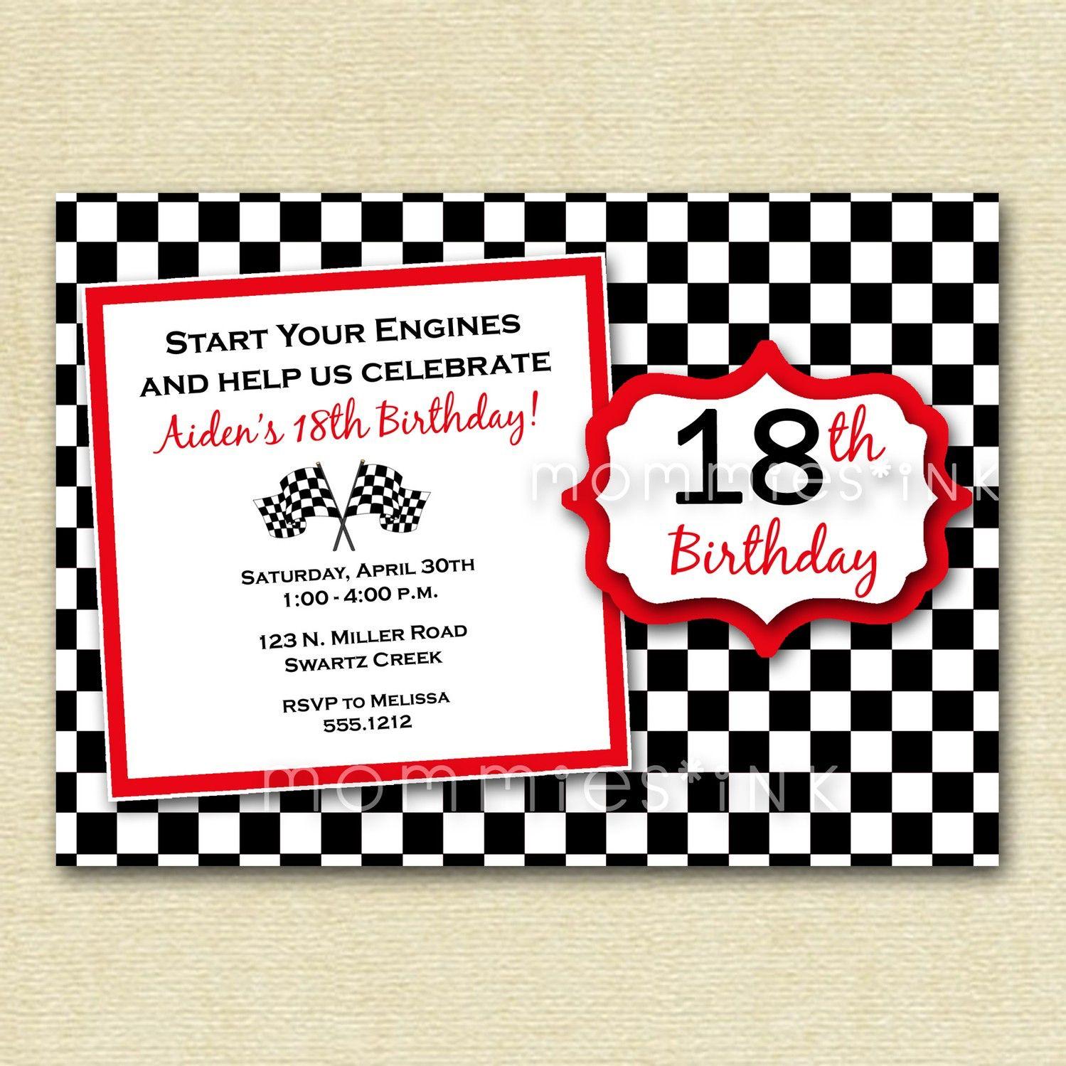 Checkered Flag Birthday Party Invitation - PRINTABLE INVITATION ...