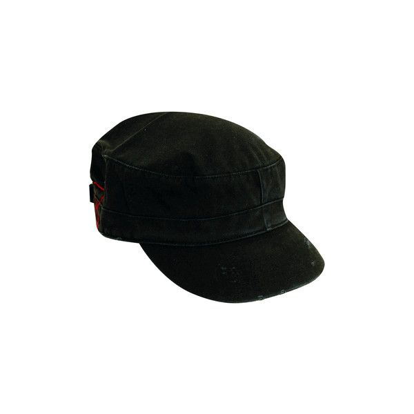 Dorfman Pacific Distressed Cotton Military Cadet Hat ($9.95) ❤ liked on Polyvore featuring accessories, hats, conductor hat, military style hats, military hats, cadet hat and distressed hat
