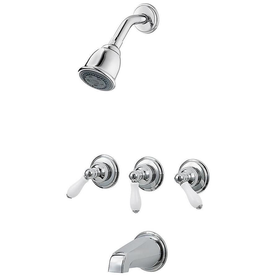Pfister Pfirst Series Polished Chrome White Porcelain 3 Handle Bathtub And Shower Faucet Lg01 81pc In 2020 Tub Shower Faucets Shower Faucet Shower Tub
