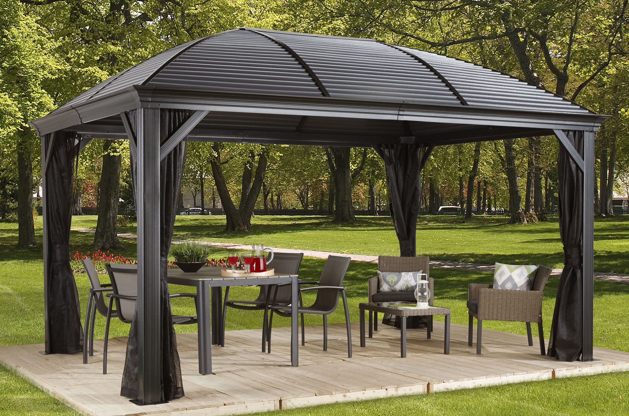 Moreno 10 Ft W X 12 Ft D Metal Permanent Gazebo Outdoor Pergola Modern Gazebo Patio Gazebo