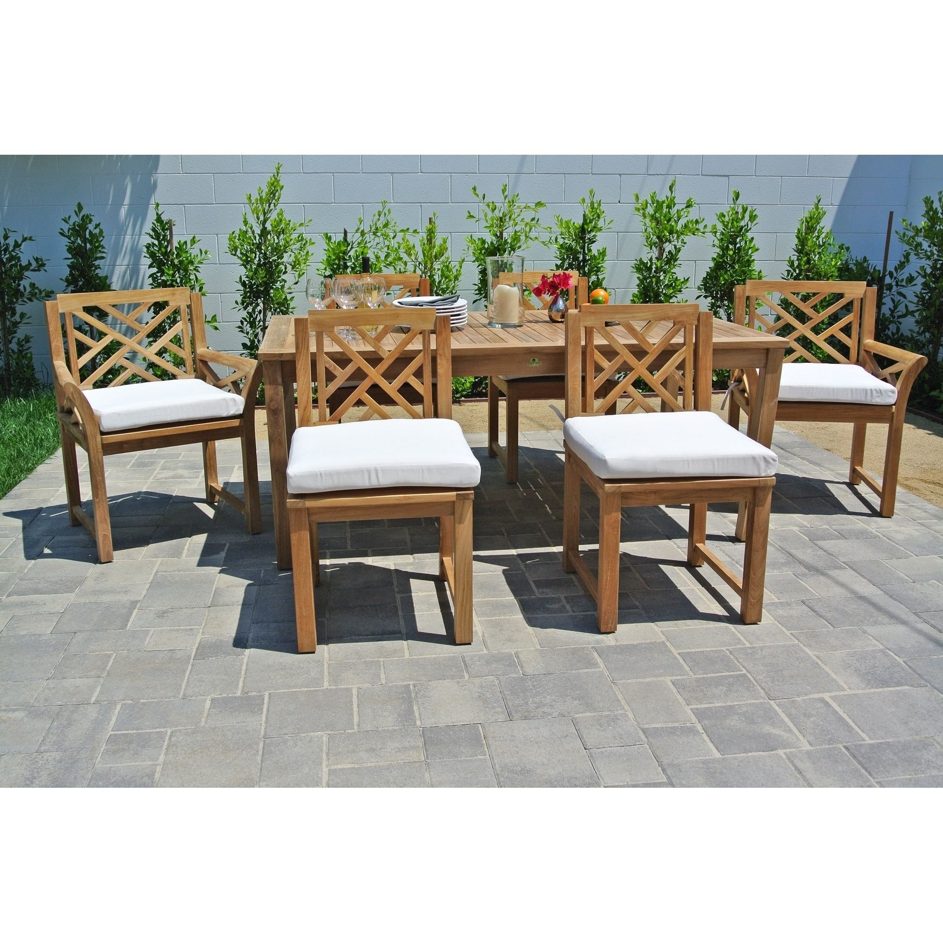 7 pc Monterey Teak Outdoor Patio Furniture Dining Set with 72