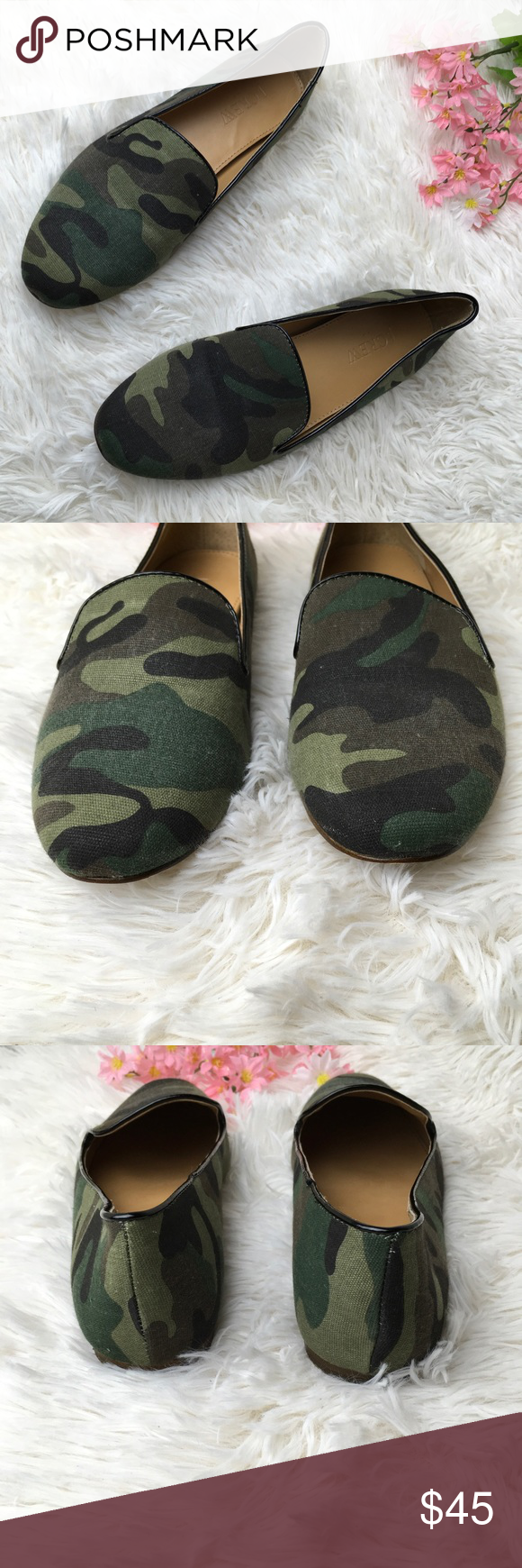 J. Crew Addie Camo Army Green Loafers Flats J. Crew Addie Camo Size 6 Sizes/Fit vary by Brand & Style  Pre owned   Please see all the pictures before purchase   Please comment with any questions before purchase J. Crew Shoes Flats & Loafers