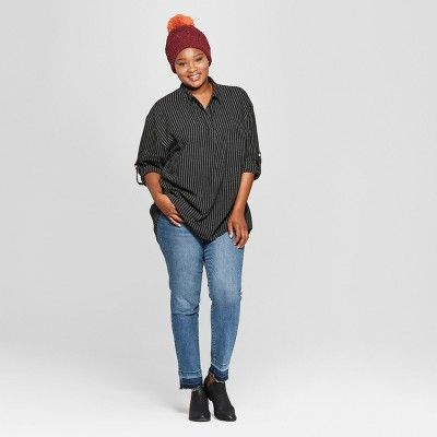 33d88484d25 Women's Plus Size Striped Long Sleeve Popover Flannel Button-Down Shirt - Universal  Thread Black 4X