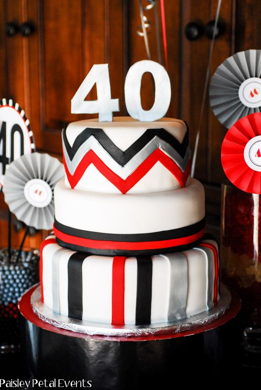 Black Red and Silver 40th Birthday Party For Him Lets party