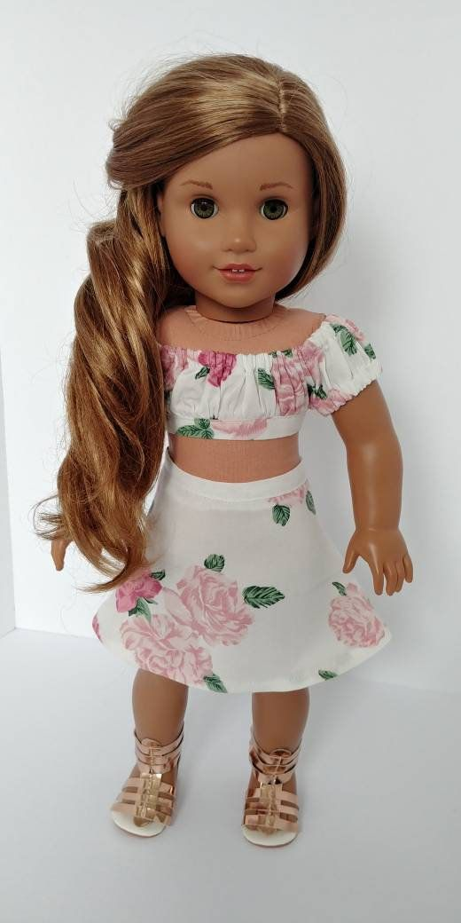 18 inch doll clothes. 18 inch doll clothing. Fits like American girl Doll clothes. White and pink Floral shirt and skirt #americandolls