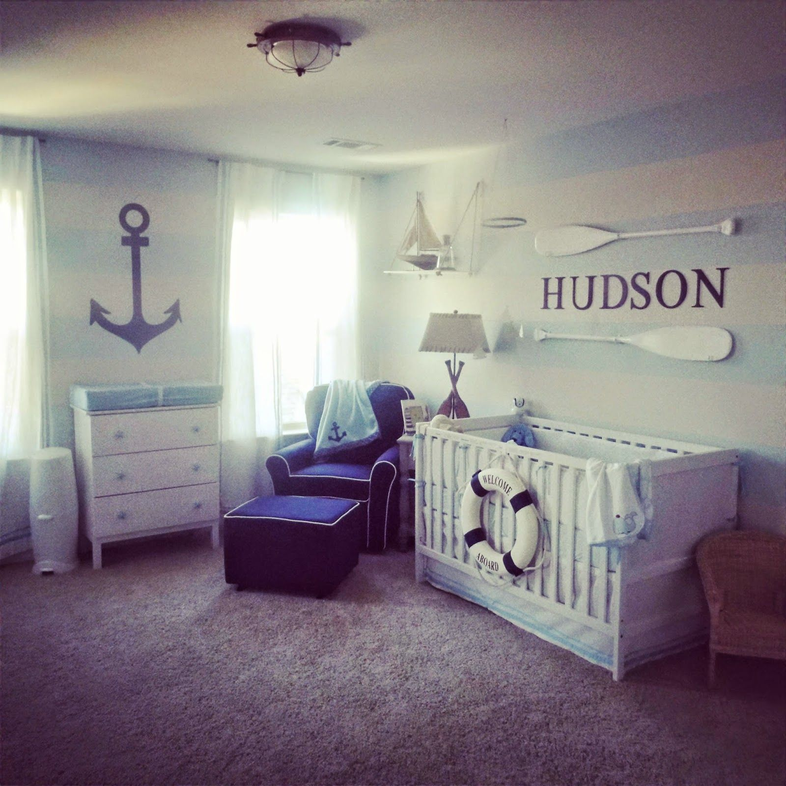 Black And White Bedrooms With Blue Whale: Nautical Boys Baby Blue White Stripe Nursery Anchor
