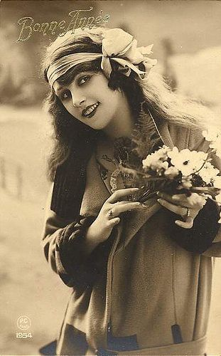New Years Postcard (1920). Can you say Flower Child?