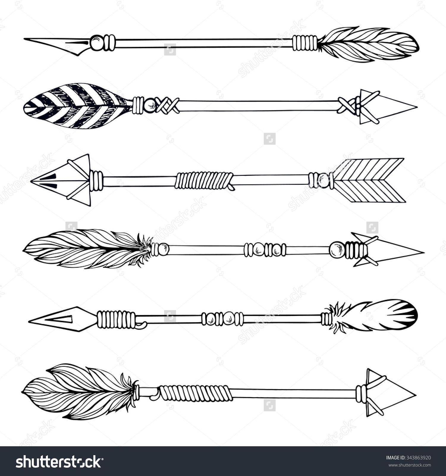 Drawing Lines With Arrows In Photo : Tribal indian arrow set ethnic hand drawn vector