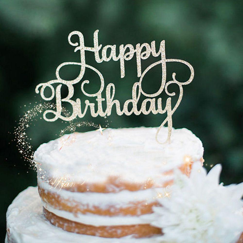 099 Gbp Happy Birthday Cake Pick Topper Decoration Gold Glitter