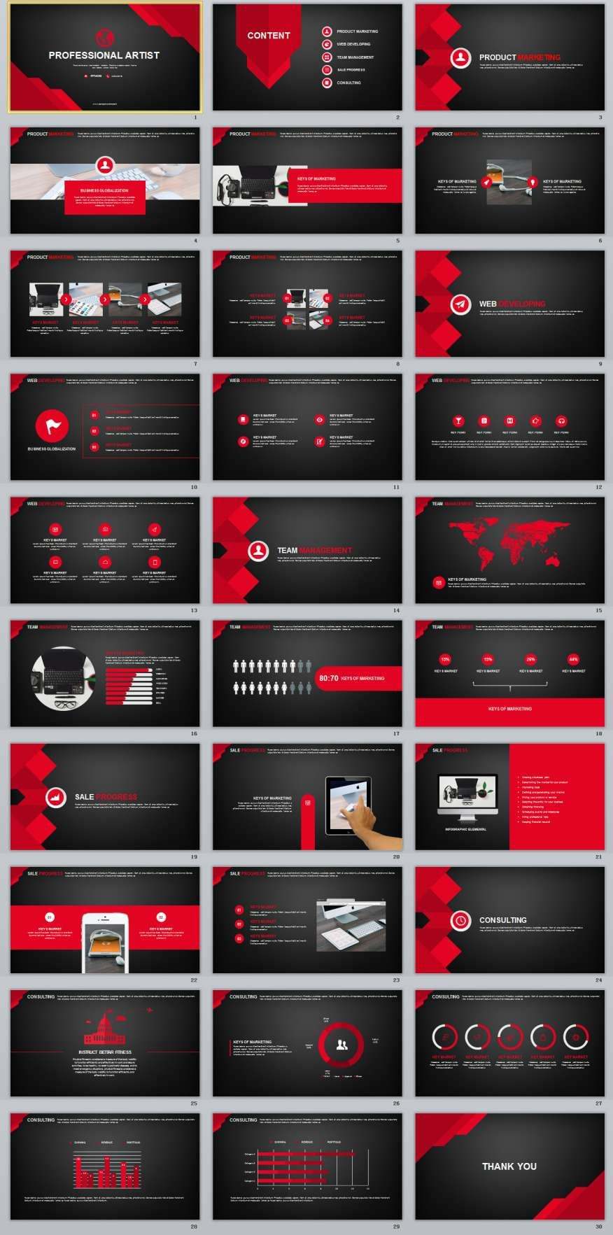 30 Red Black Business PowerPoint TemplatesThe highest quality PowerPoint Templates and Keynote Templates download