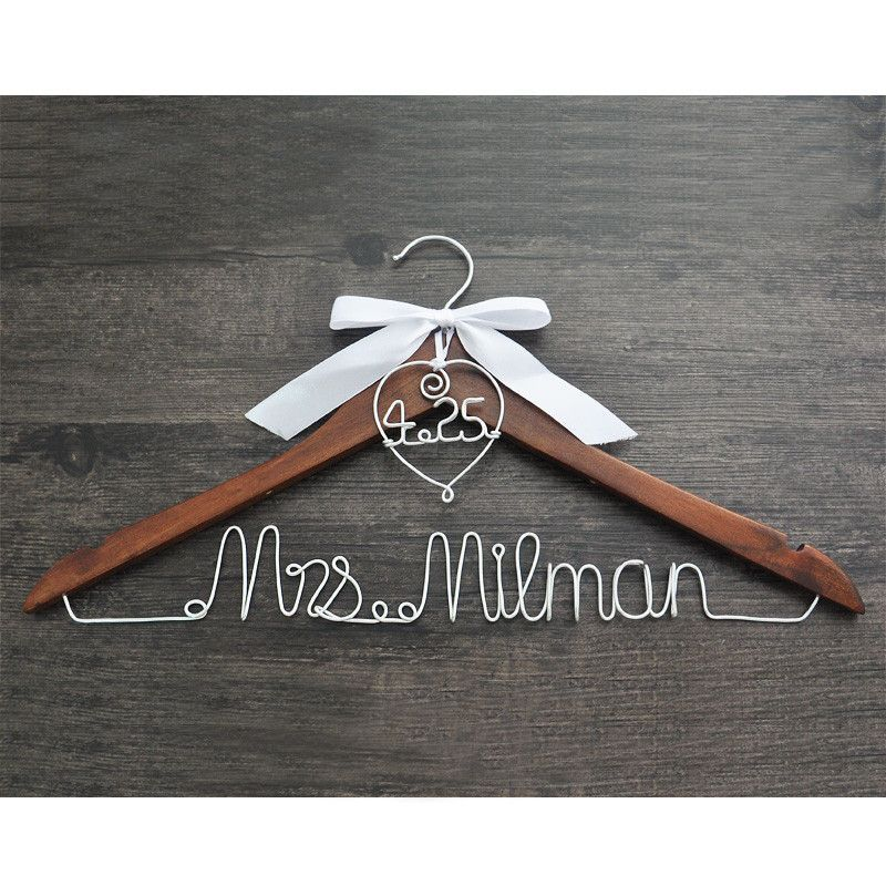 personalized bridal hanger with heart date and name products