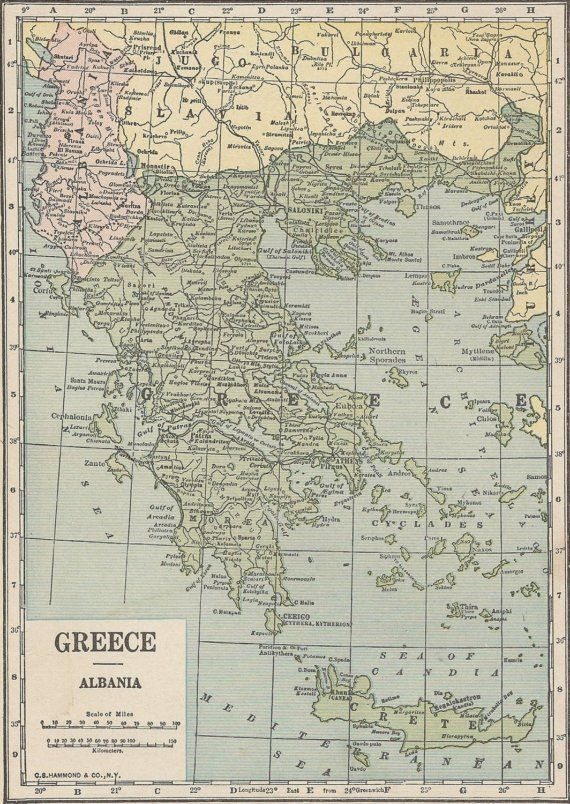 Map Of Spain And Greece.Vintage Map Greece And Albania Or Spain And Portugal 1920s Double