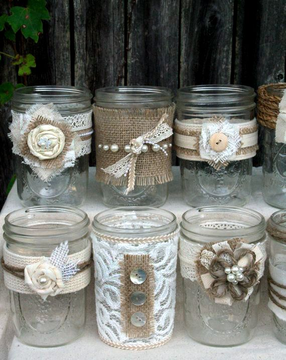 burlap and lace decorated jars mason jars bottles pinterest
