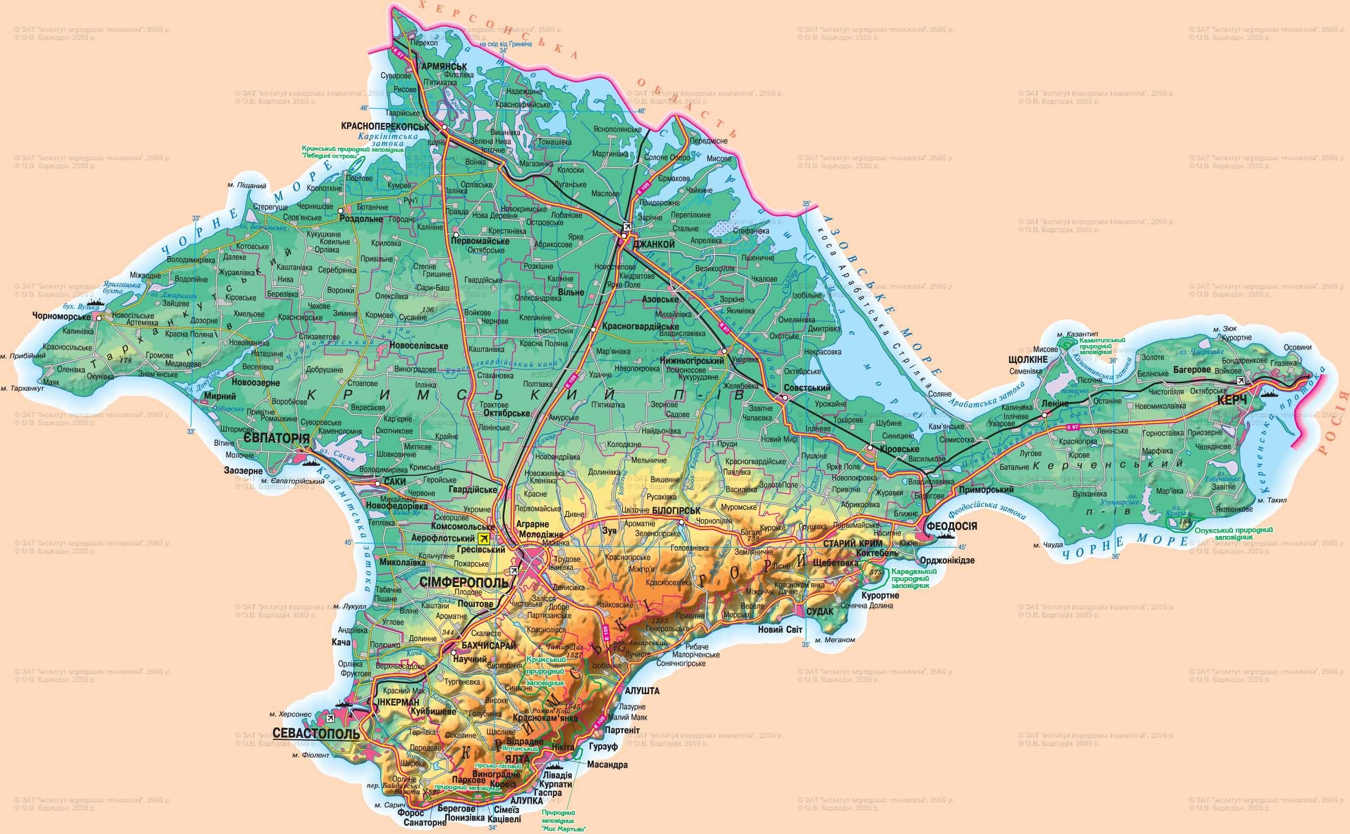 Physical and road map of Crimea, Ukraine, in Ukrainian ...