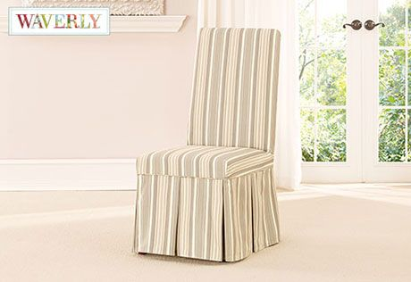 Wonderful Sure Fit Slipcovers Lucky Stripe By Waverly™ Long Dining Chair Slipcover    Dining Chair Cover