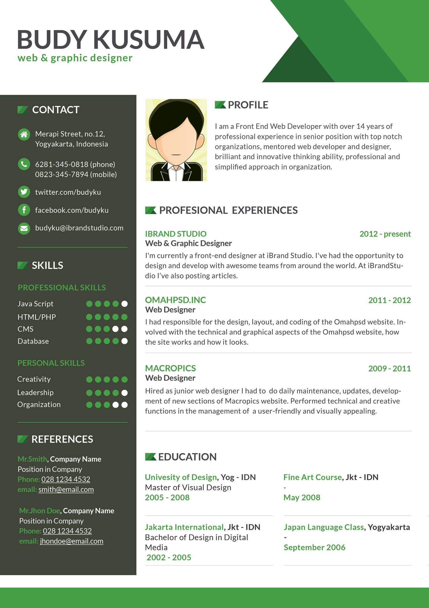 Best 10 Creative Resume Design Templates Flasher Resume Template  Green Free Download For Web Graphic Designer (1488×2105)