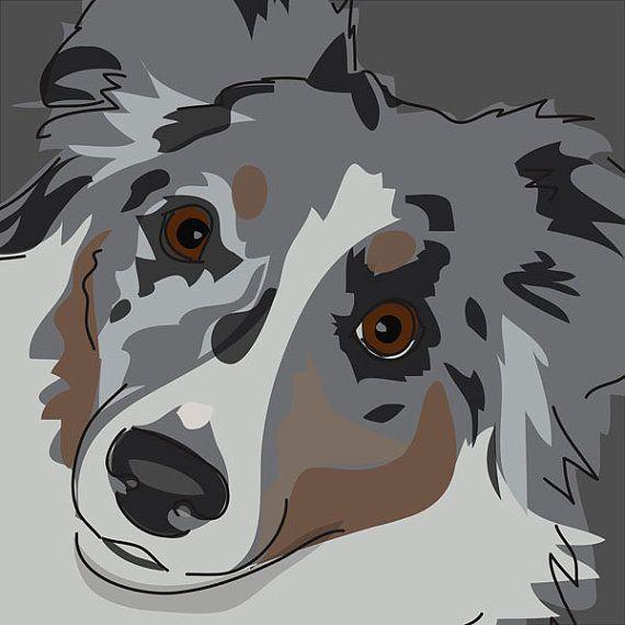 Australian Shepherd Magnet - Wiggle Butt - Blue Merle Australian ...