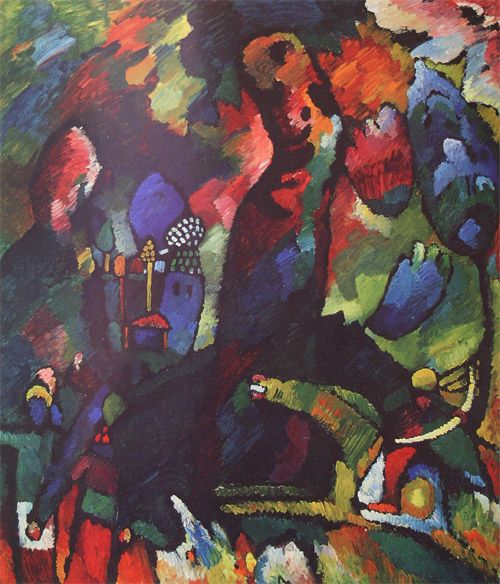 PICTURE WITH ARCHER, 1909 Oil on canvas New York, Museum of Modern Art (MoMA) #kandinsky #kandinski #kandinskij http://www.wassilykandinsky.net/work-22.php