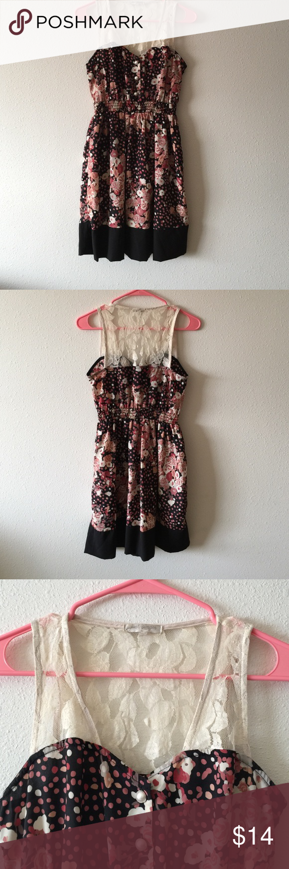 Just ginger dress Floral dress with lace top. Size small. No flaws Dresses Midi