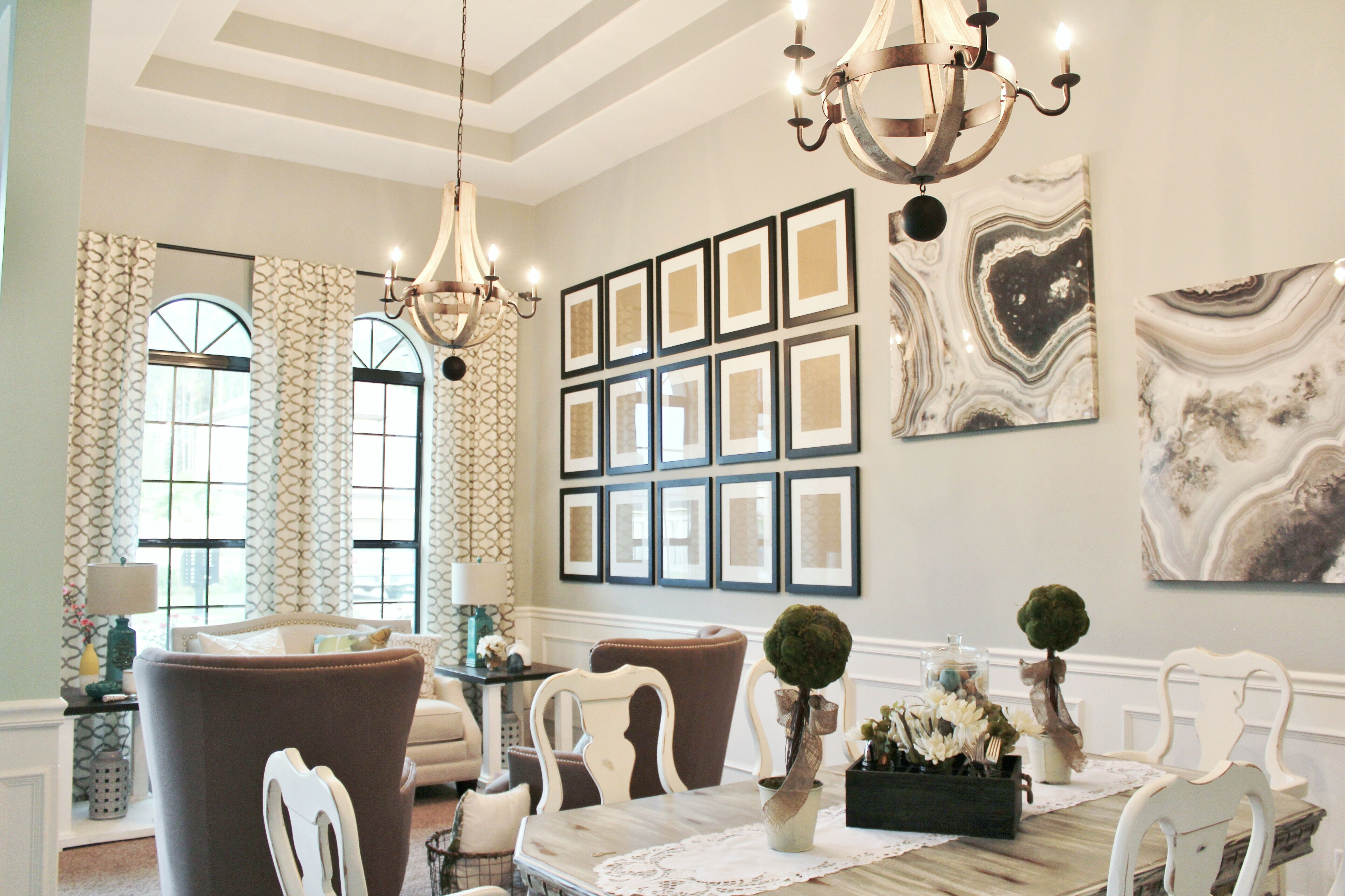 Transitional Living & Dining Room With Gallery Wall Agate Wall Adorable Wall Art For A Dining Room Design Inspiration