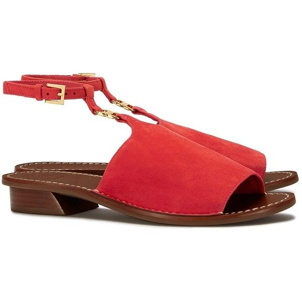 11fb9805bd3 Tory Burch Gemini Link Ankle-Strap Sandals featuring polyvore women s fashion  shoes sandals red canyon red suede sandals tory burch sandals low block heel  ...