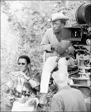 """collective-history:  Gordon Parks, right, and his son Gordon Junior on location during the filming of the 1962 film, """"The Learning Tree."""" N.Y. Times"""