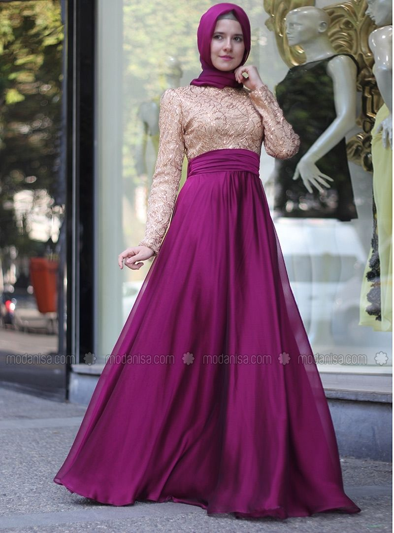 Over Stamp Embroidered Abiye Dresses - Pink - Mevra Modanisa ...