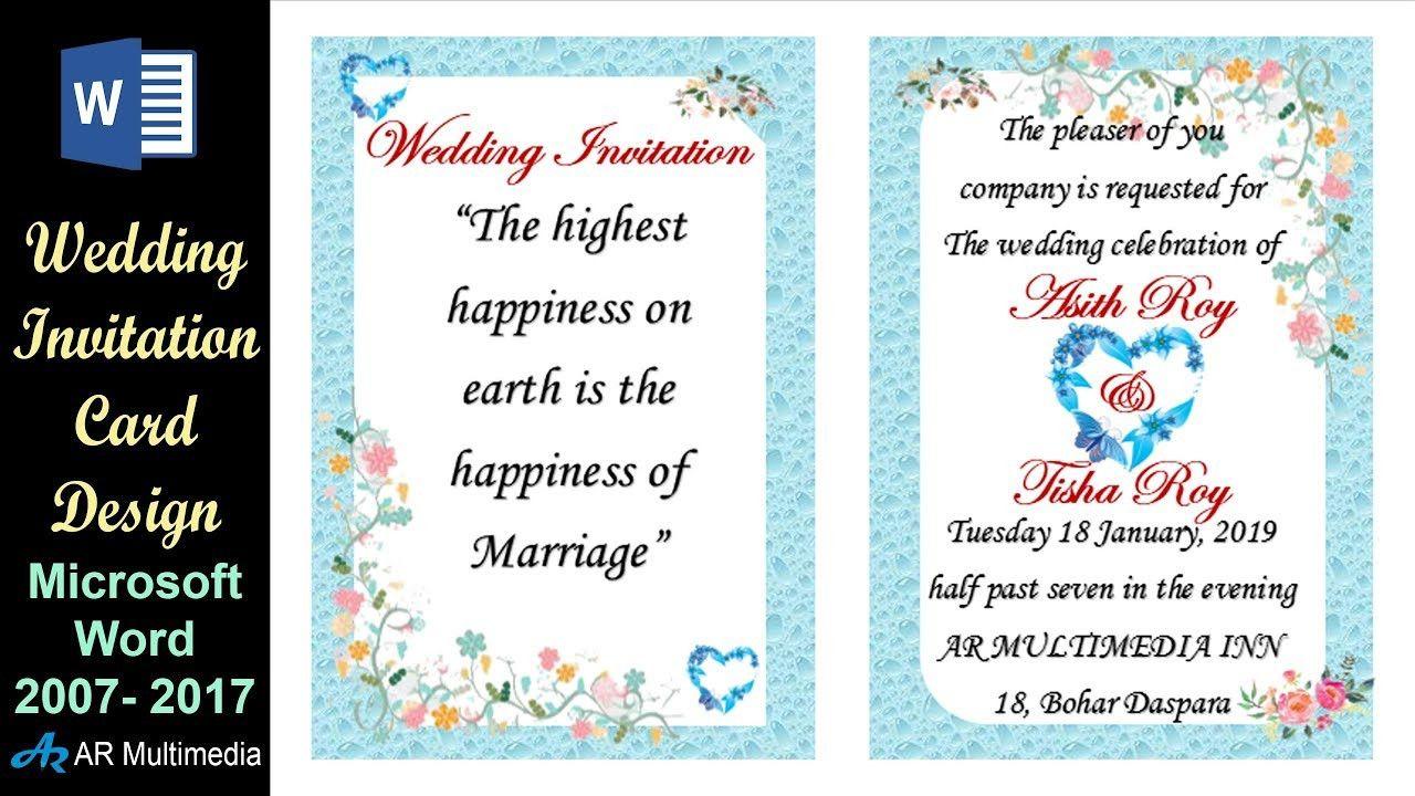 Ms Word Wedding Invitation Template In 2021 Wedding Invitation Card Design Online Invitation Card Engagement Invitation Cards
