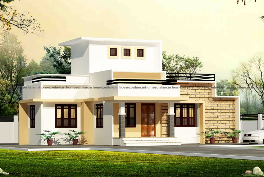 Presenting A Beautiful Simple Single Storey Home With Flat Roof The Total Area Is 1100 Square Feet In 2020 Flat Roof House Simple Bungalow House Designs Storey Homes